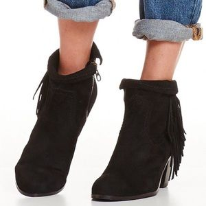 Sam Edelman Louie fringe western ankle booties